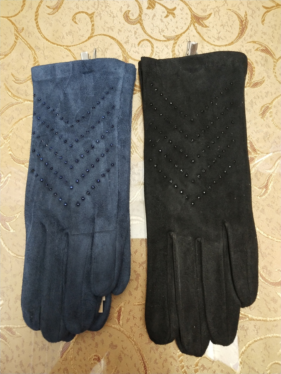 Замш+Замш с сенсором тонкий женские перчатки для работы на телефоне плоншете ANJELA стильные только оптом