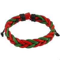 Кожаный плетеный браслет красно-зеленый Spikes, фото 1