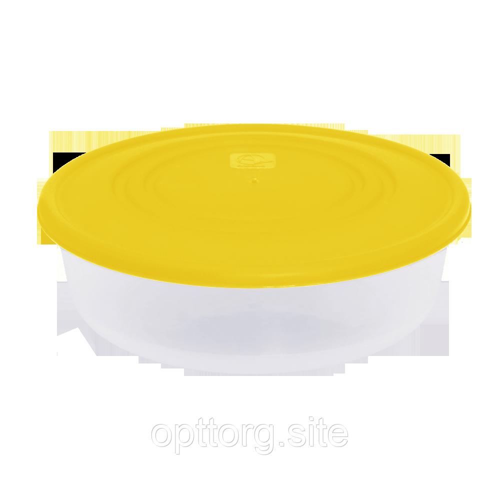 Контейнер для пищевых продуктов 1,025 л круглый с разноцветными крышками Алеана 167034