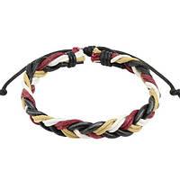 Кожаный плетеный браслет разноцветный Spikes, фото 1