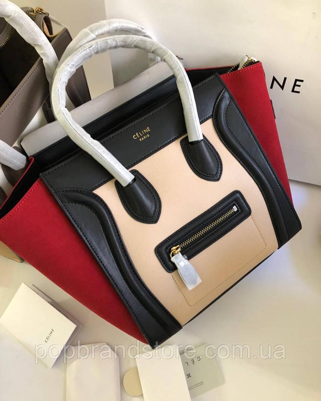 25865c392264 Женская кожаная сумка Celine бордо (реплика) - Pop Brand Store | брендовые  сумки,