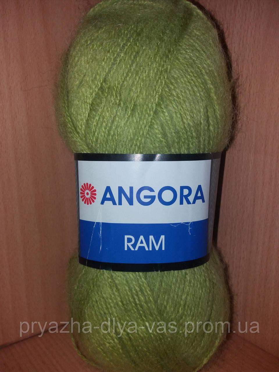 Мохеровая пряжа (100г/500м, 40%-мохер, 60%-акрил) Angora Ram 9640(оливковый)