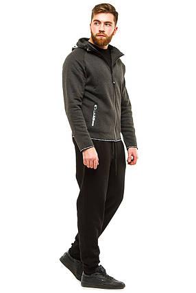 Теплый мужской костюм 374 темно-серый, фото 2