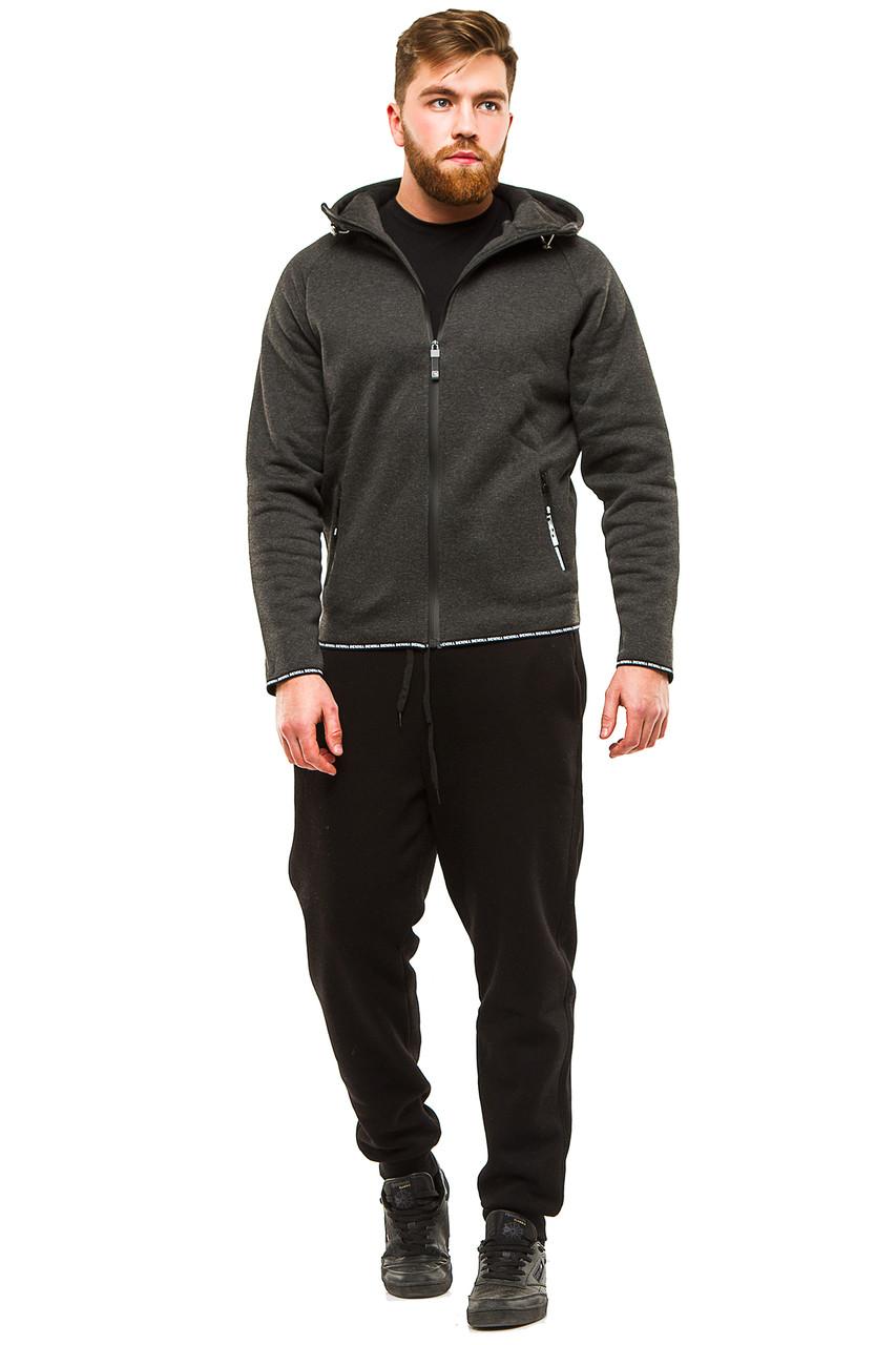 Теплый мужской костюм 374 темно-серый