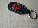 Брелок d продолговатый Seat 97мм 8г кожезаменитель коричневый эмблема красная Сеат на авто ключи , фото 3