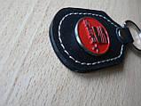Брелок d продолговатый Seat 97мм 8г кожезаменитель коричневый эмблема красная Сеат на авто ключи , фото 4