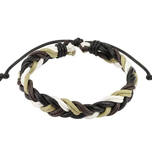 Плетений шкіряний браслет чорно-білий Spikes