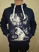 Пайта толстовка мужская Тигр трехнить на флисе рисунок светится в темноте. Размер М