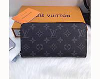 Мужской кошелек в стиле Louis Vuitton (60017) dark grey, фото 1