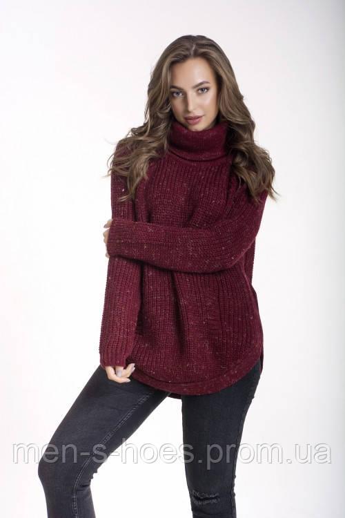 свитер вязаный женский бордовый с отворотом продажа цена в