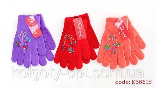 Перчатки стрейч с аппликацией для девочек (продаются только от 12 пар)