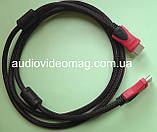 Кабель HDMI - HDMI, длина 1,4 метра, черно-красная оплетка, толщина - 8 мм, фото 3