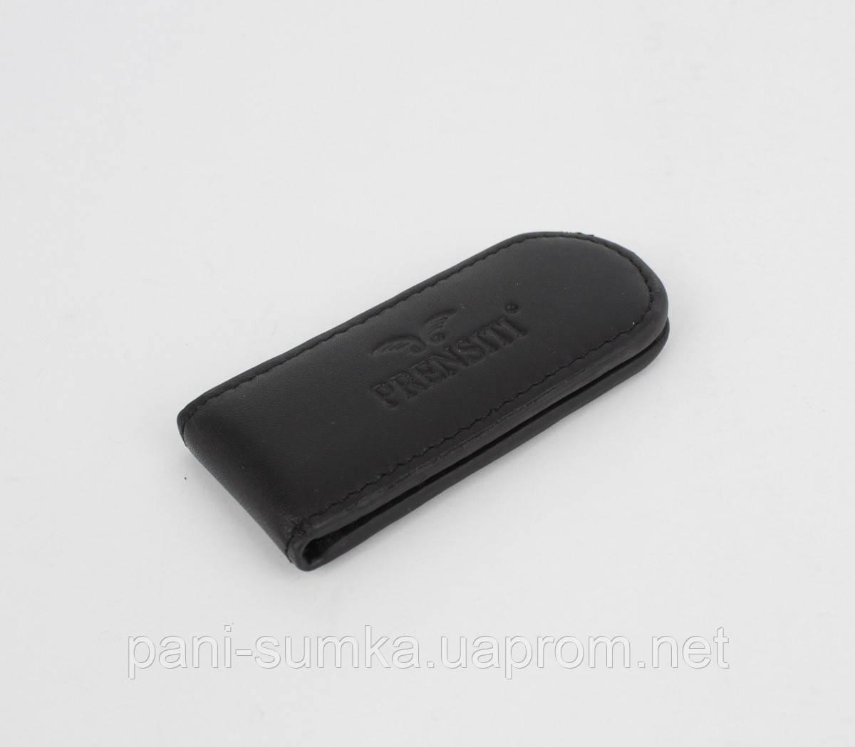 Купюрник-зажим для денег магнитный кожаный Prensiti 34258 черный
