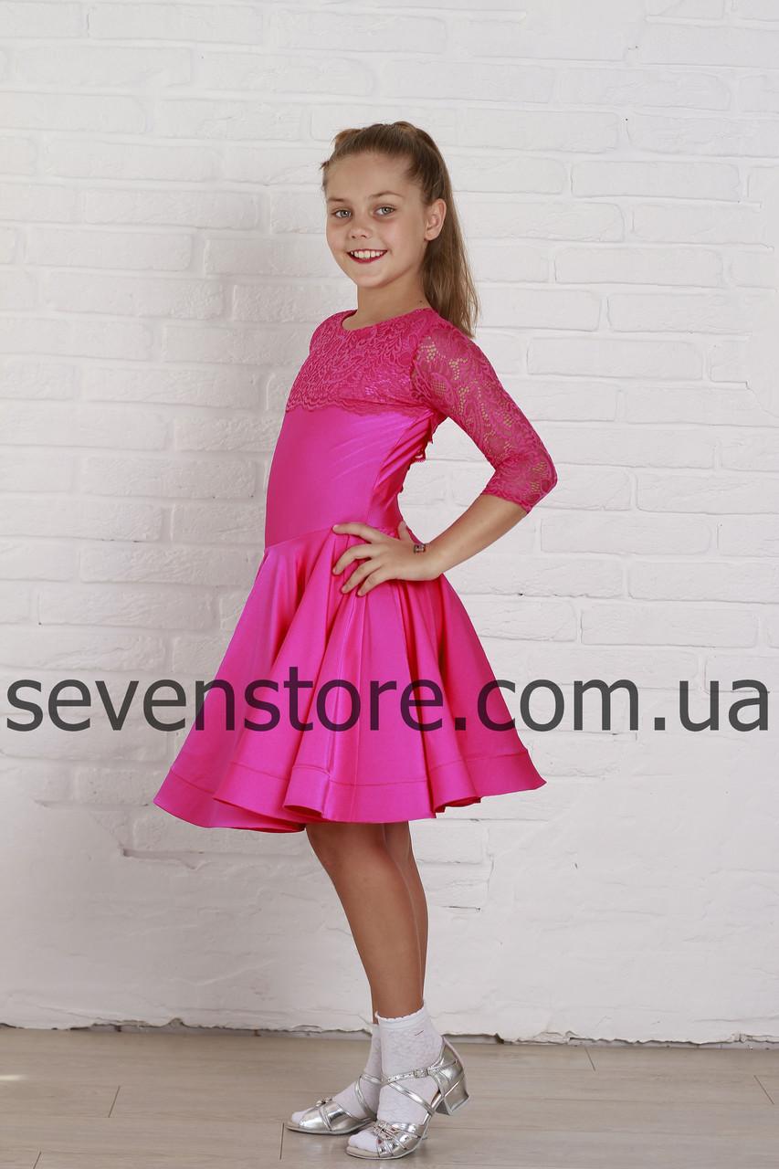 Рейтинговое платье Бейсик для бальных танцев Sevenstore 9109 Малина