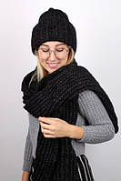 Практичный теплй комплект шапка и шарф