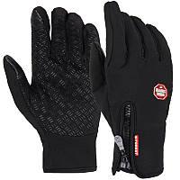 Осенние зимние вело мото лыжные перчатки с сенсорной накладкой чёрные