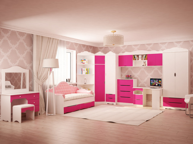 "На фото: детская комната для девочки ""Италия"", пример расстановки мебели"