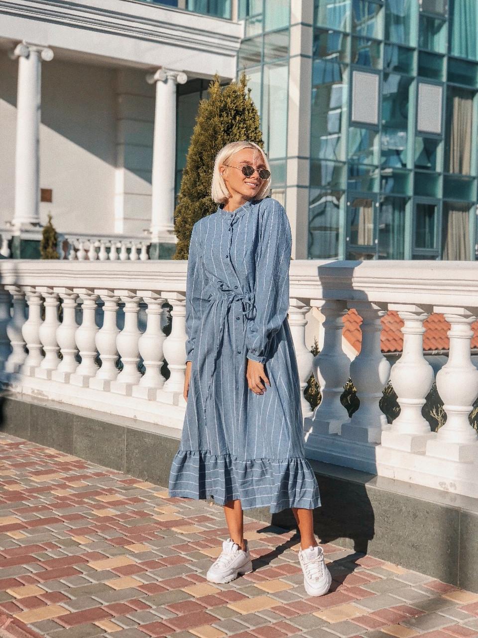 Женское платье в полоску, размеры SML