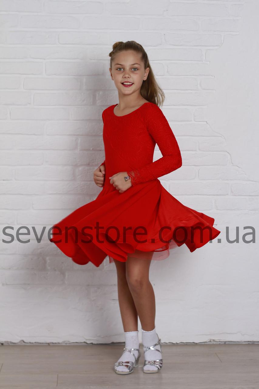 Рейтинговое платье Бейсик для бальных танцев Sevenstore 9132 Красное