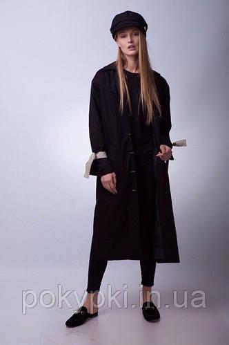 Стильное пальто тренч длинное с отложным воротником с пуговицами и поясом  черное 8251a1ba1a4d8