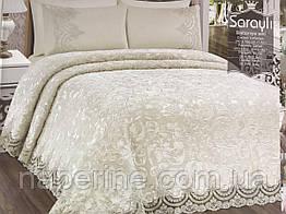 Плед и постельное белье Estima c французским кружевом евро размер кремовый