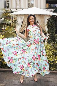 """Длинное шелковое платье в цветочек """"АРМАНИ"""" с расклешенной юбкой (большие размеры)"""