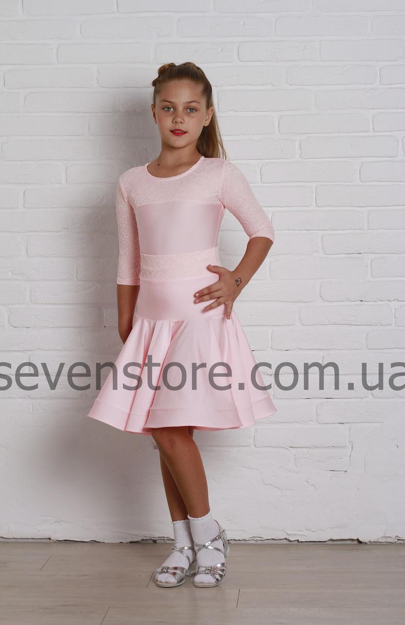 Рейтинговое платье Бейсик для бальных танцев Sevenstore 9133 Нежно розовый