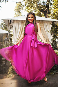 """Приталенное шелковое платье в пол """"АРМАНИ"""" с расклешенной юбкой (большие размеры)"""
