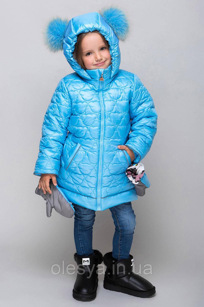 Новинка зима 2019 Теплое пальто на девочку Мишки Размеры 104- 122