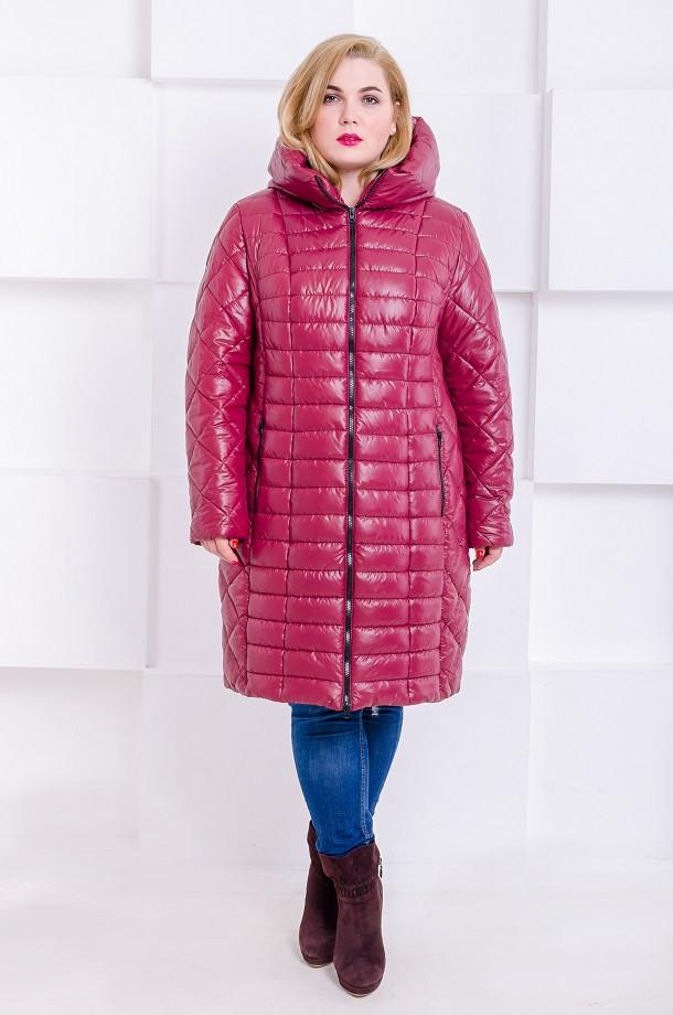 Женская стильная зимняя куртка размер плюс Флави марсала (54-64)