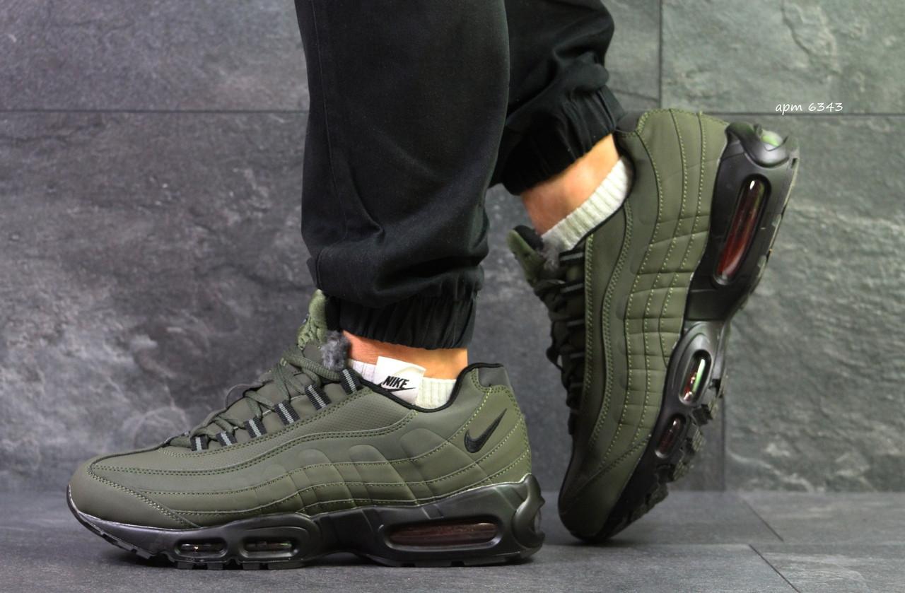 Мужские зимние кроссовки Nike air max 95 темно зеленые, на меху