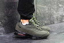 Мужские зимние кроссовки Nike air max 95 темно зеленые, на меху, фото 3