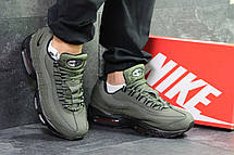 Мужские зимние кроссовки Nike air max 95 темно зеленые, на меху, фото 2