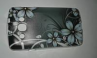 Бампер LG L60 Case Силиконовая с прозрачным бампером, серая со стразами Цветы