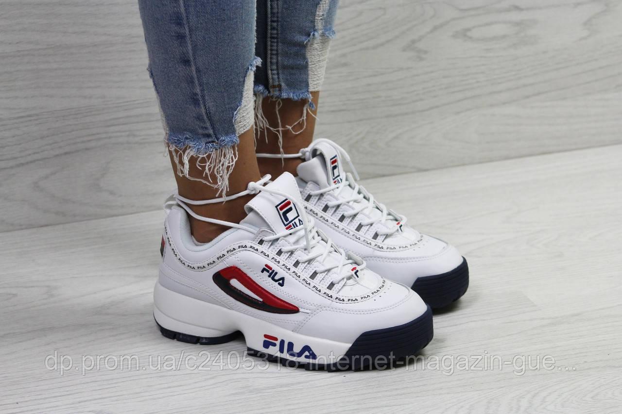 Модные женские кроссовки Fila (реплика) белые с красным - Интернет-магазин