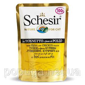 Schesir Tuna Chicken консерва для котів, тунець з курячим філе, пауч 100 г