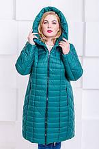 Женская стильная зимняя куртка размер плюс Флави изумруд (54-64)