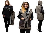 """Зимний теплый костюм тройка на флисе, батал """"Чудесный"""" коричневый, фото 1"""
