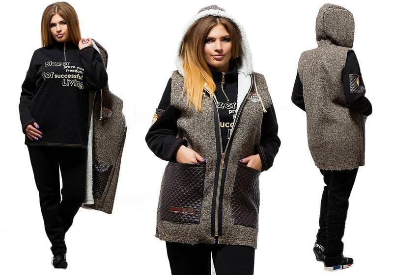 """Зимний теплый костюм тройка на флисе, батал """"Чудесный"""" коричневый"""