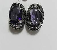 Серьги серебряные Величие с фиолетовым камнем, фото 1