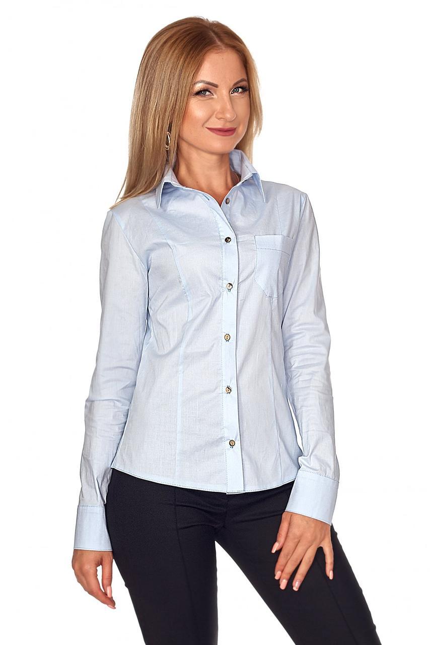 5a0eb5cb5b5 Стильная женская голубая рубашка р.42