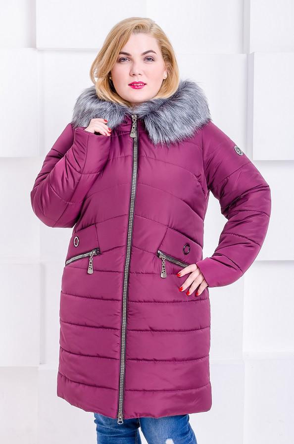 bb12416a38a Женская модная зимняя куртка размер плюс Gerda марсала (48-58). Нет в  наличии