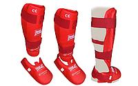 Защита для ног (голень+стопа) разбирающаяся PU EVERLAST  (р-р S-XL; красный)