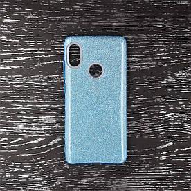 Чехол накладка для Xiaomi Mi 6X | Xiaomi Mi A2 силиконовый, Remax Case 3 в 1 GLITTER, Голубой