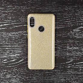 Чехол накладка для Xiaomi Mi 6X | Xiaomi Mi A2 силиконовый, Remax Case 3 в 1 GLITTER, Золотистый