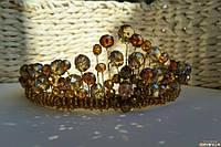 Корона Золотая хрустальная  Бежевая тиара диадема