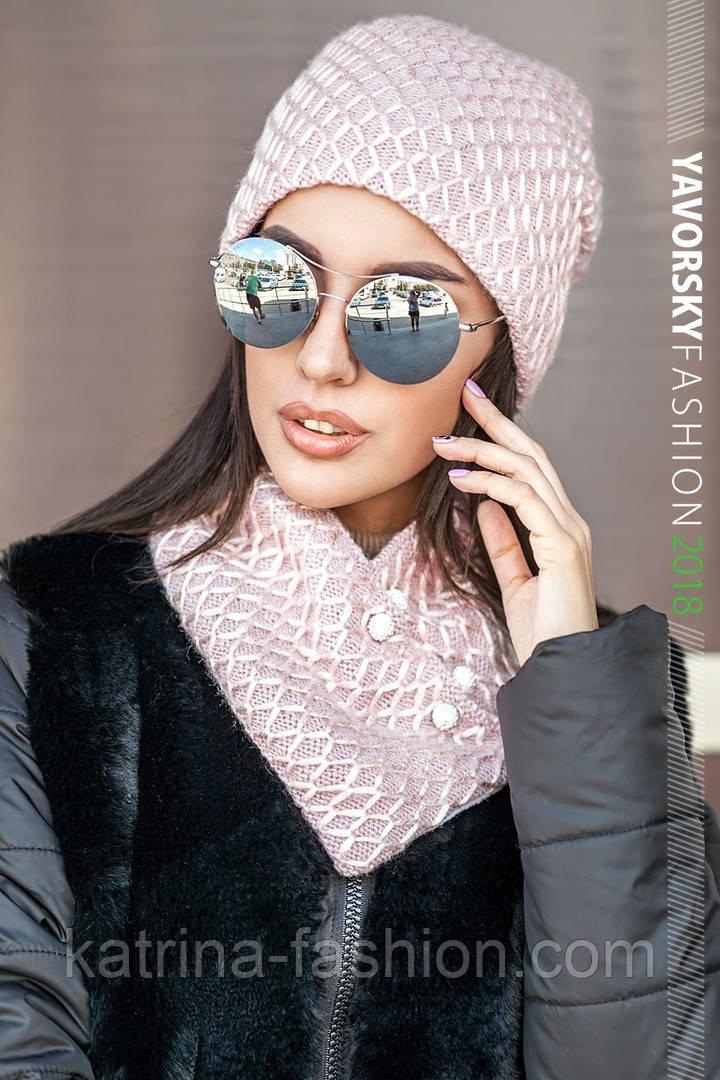 Женская шапка на флисе и хомут (в расцветках)