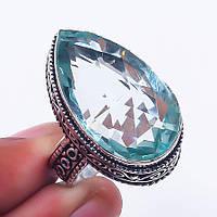 Зеленый аметист кольцо с аметистом в серебре 18.2 размер Индия, фото 1