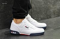Мужские кожаные кроссовки, кеды Fila. артикул: 6333 белые с темно синим