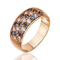Кольцо КД045Ч с камнем Циркон, красное золото Eurogold